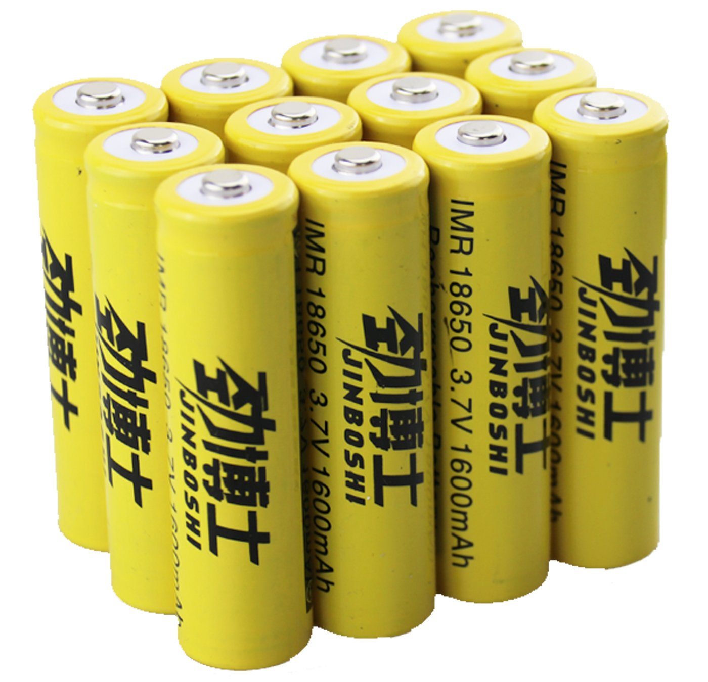 jingboshi® marca nuevo 12x 18650(amarillo) de la batería para luz de flash LED linterna lámpara de cabeza batería botón superior nuevo 3, 70V Li-ion