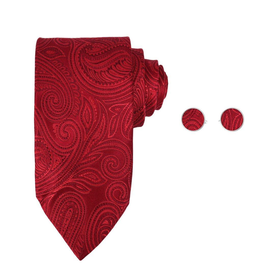 Y/&G Mens Fashion Multicolored Patterns Neckwear with Presents Box Silk Tie Cufflinks Set 2PT A1130