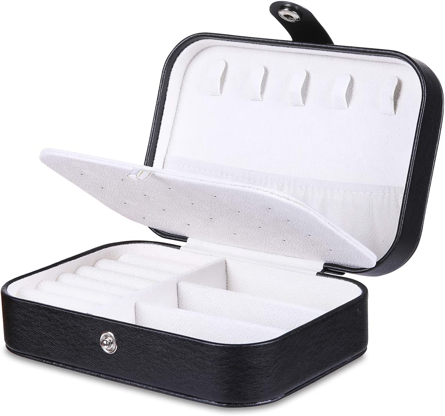 Black misaya Travel Jewelry Box Middle Size Storage Case for Necklace Earrings Rings Portable Jewelry Organizer for Women
