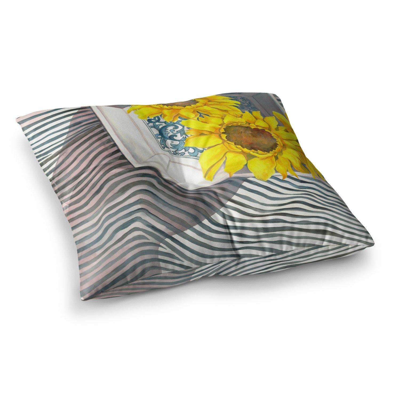 Kess InHouse S Seema Z Finall Sunflower Yellow Flower 23 x 23 Square Floor Pillow