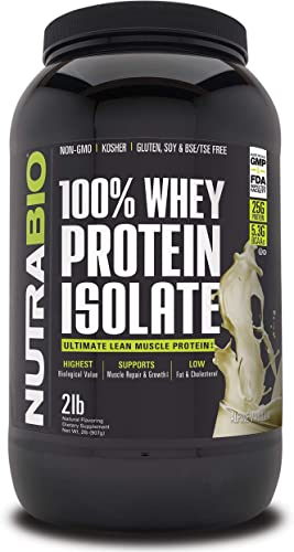 NutraBio 100 Whey Protein Isolate Vanilla, 2 Pounds