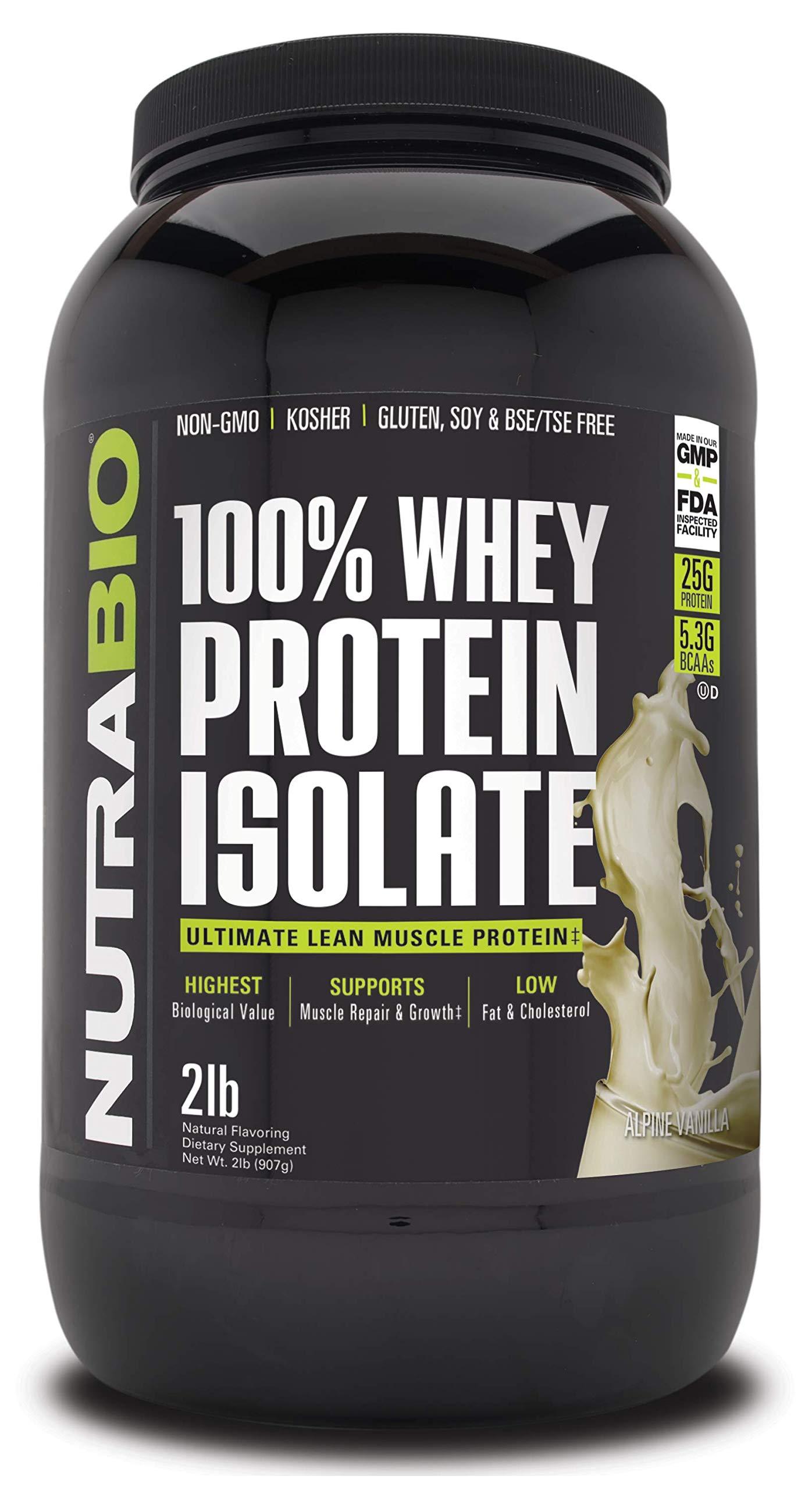 NutraBio 100% Whey Protein Isolate (Vanilla, 2 Pounds) by NutraBio