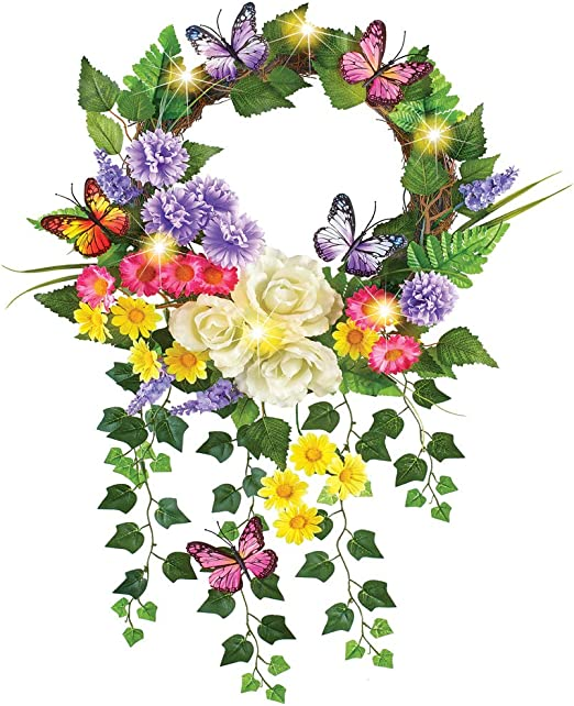 """17/"""" Lighted Floral Butterfly Wreath Purple /& White Flowers Door Wall Hanging"""