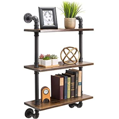 3-Tier Rustic Wooden Wall Floating Shelf Display 24 x36  With Iron Pipe For Kitchen, Bedroom, Office
