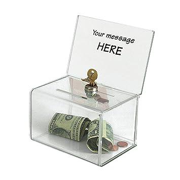Deflect-o - Caja para sugerencias o propinas (con cierre), transparente: Amazon.es: Oficina y papelería