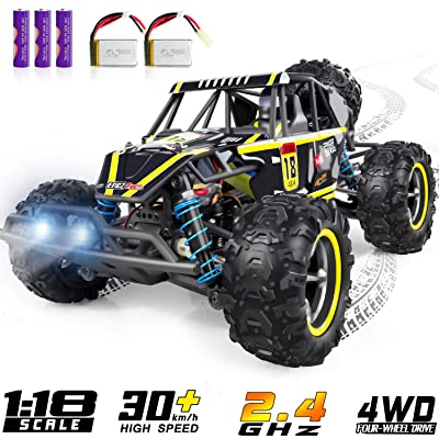 Remote Control Car, WHIRLT RC Cars for Kids, 4WD 2.4GHz 1:18 Scale High Speed Racing RC Car with 2 Headlights, Off Road RC Trucks Xmas Toy Cars: Toys & Games