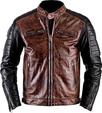 Stylish Men/'s Retro Vintage Distressed Biker Brown Genuine Leather Jacket