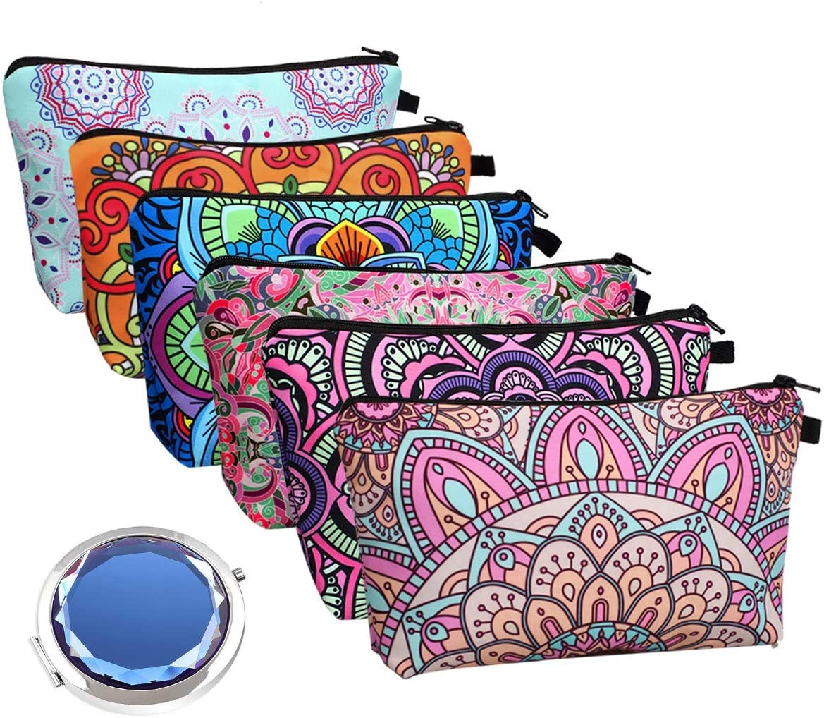 Cosmetic Bags for Women, 6 Pieces Waterproof Makeup Pouches Cosmetic Bags Bulk with Mirror Set, Travel Toiletry Organizer with Zipper (Mandala Flower Design)