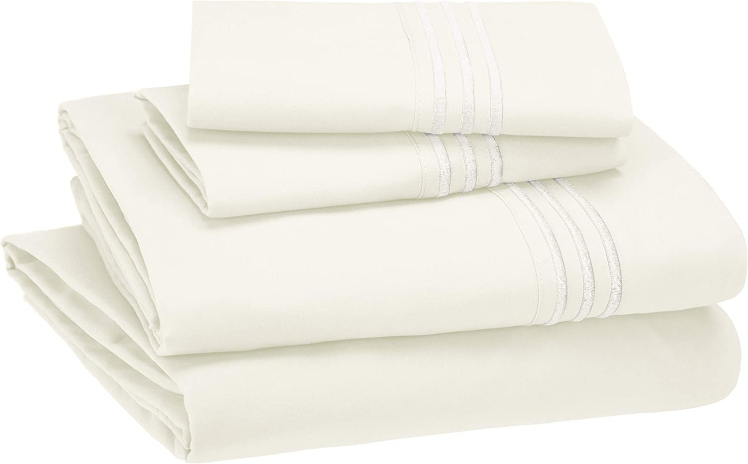 AmazonBasics Premium, Easy-Wash Embroidered Hotel Stitch Sheet Set- King, Off-White