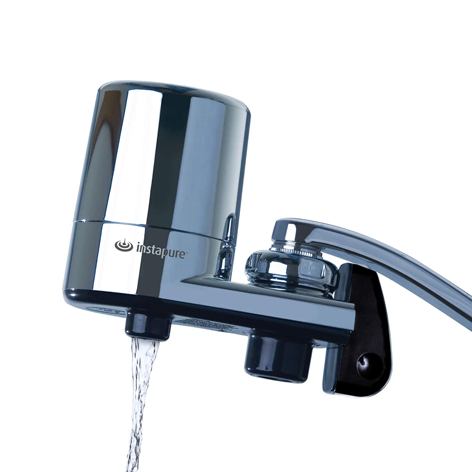Instapure F2 Essentials Tap Water Filtration System (Chrome with Chrome Cap) + 1 Filter, Certified to ANSI/NSF 42