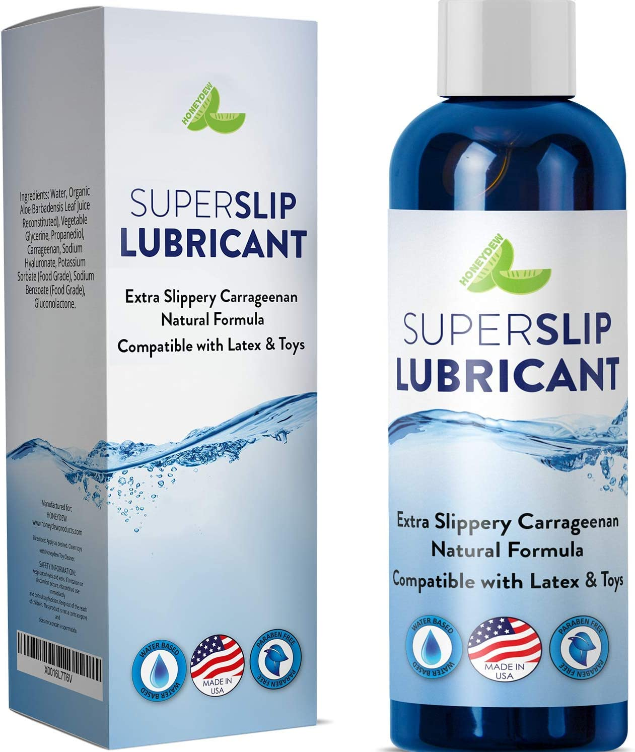Natural Personal Lubricant - Water Based Sensitive Lube for Women and Men – Extra Emollient Super Slip Lubricant with Carrageenan and Aloe Natural Formula - PH Balanced - Silicone Free - 4oz