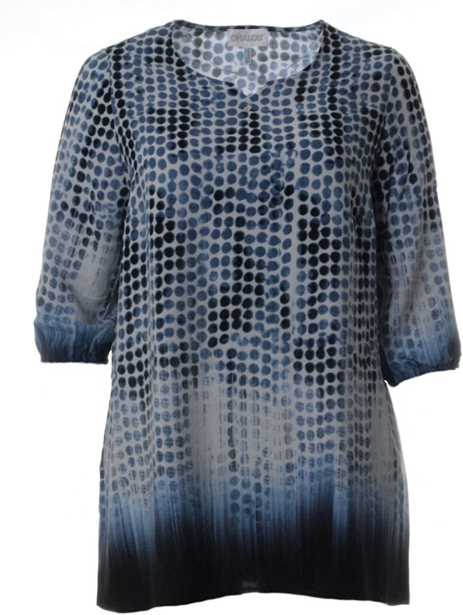 Chalou Shirt Tunika schwarz bunt Straß Damen  grosse Grössen Übergrösse XXL