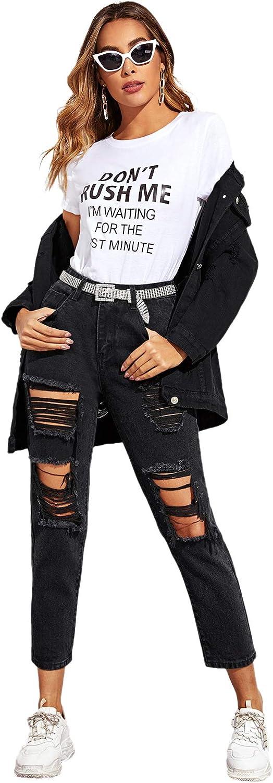 SweatyRocks Womens Ripped Boyfriend Jeans Distressed Denim Ankle Length Jeans