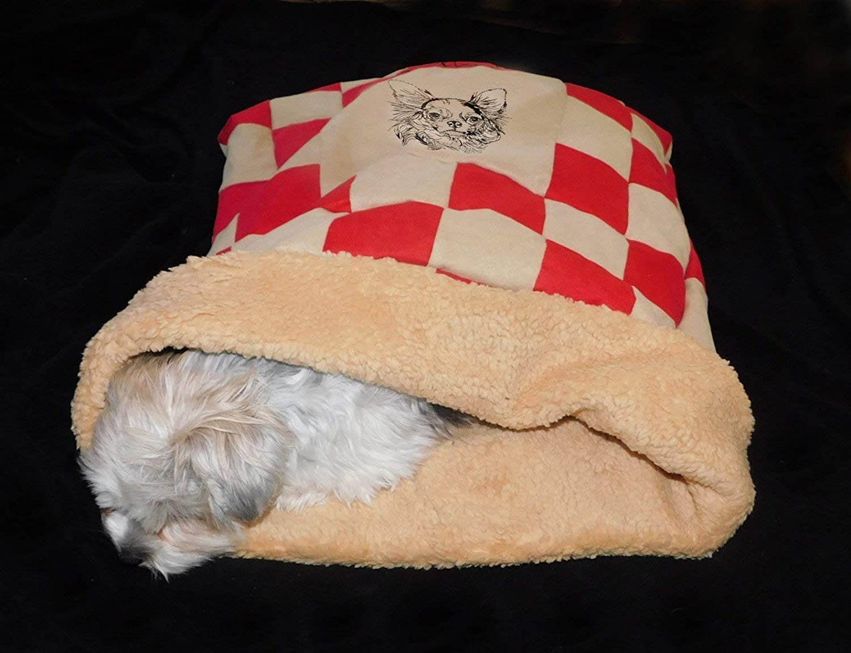 LunaChild Hunde Kuschelhöhle Chihuahua 4 Hundebett Name Snuggle Bag Größe S M L oder XL in vielen Farben erhältlich