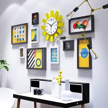 MEI Marco Madera Foto Muro Pared minimalista moderna del reloj del ...