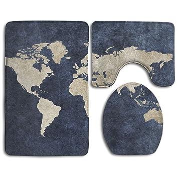 Amazon skidproof 3 piece bath rug set world map printed soft skidproof 3 piece bath rug set world map printed soft bath mat rug set soft skidproof gumiabroncs Images