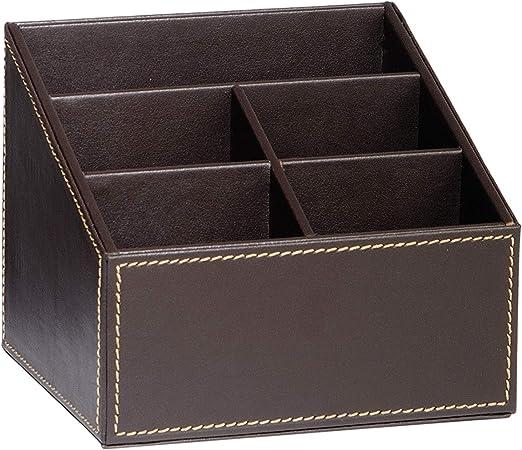 ANDREA HOUSE - Porta mandos Efecto Piel marrón Chocolate 16,5x13,5x13cm: Amazon.es: Hogar