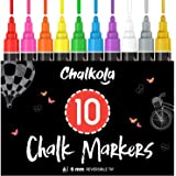 Liquid Chalk Markers (10 Pack) with Gold & Silver - Bold Dry Erase Marker Pens for Blackboard, Windows, Chalkboard Signs, Bis