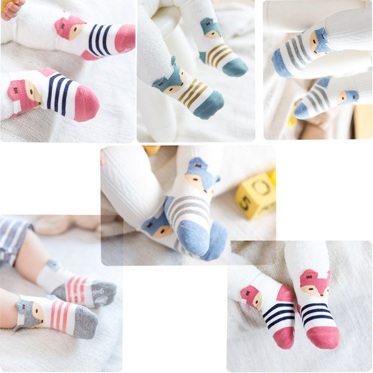 Fairy 5 Pairs Cartoon Cute Animals Fox Non Skid Cotton Baby Socks Stripes Socks (12 - 24 Months) by Fairy Socks (Image #2)