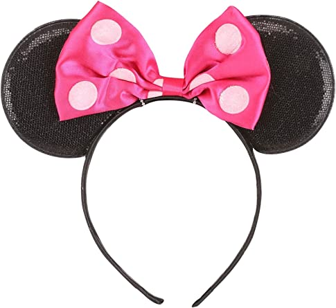 Minnie Mouse Sparkled 2 pcs Ears Set Red Bow and Pink Bow