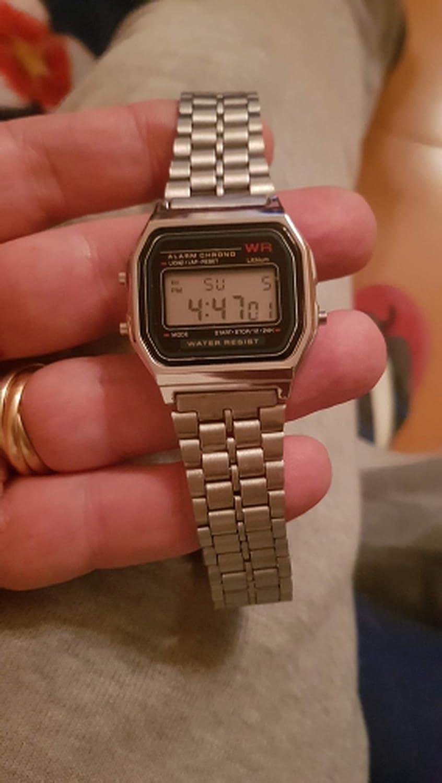 Amazon.com: Vintage Womens Men Stainless Steel Digital Alarm Stopwatch LED Wrist Watch Luxury Bracelet Watch,just a Box: Cell Phones & Accessories