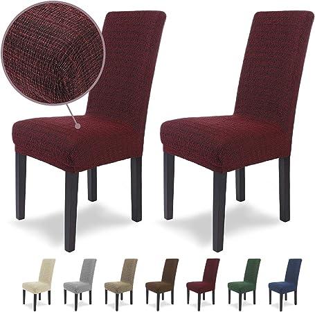Housses de chaises SCHEFFLER Home Anna 2 Set, élastiques Couverture Spandex, Couvre revêtement de Chaise, Rouge Grenat