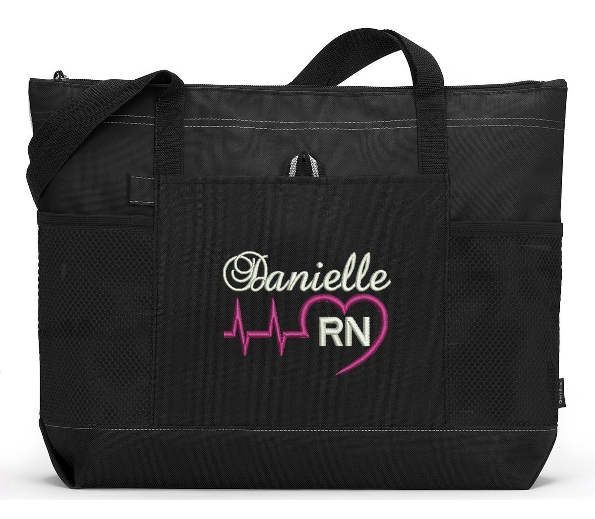Nurse, RN, LPN, CNA, Medical Personnel Heart Beat Personalized Embroidered Tote