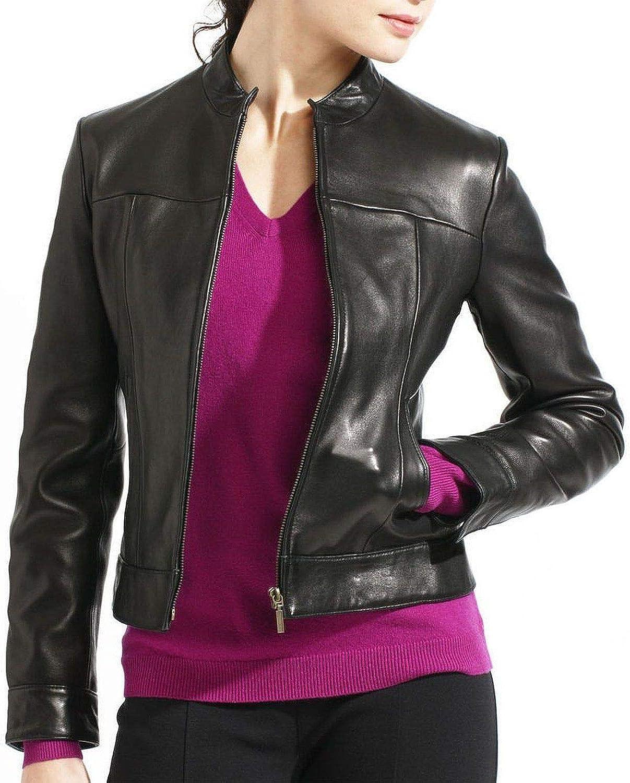 Pristine Leather Womens Real Lambskin Leather Black Blazer Coat Jacket WJ-027