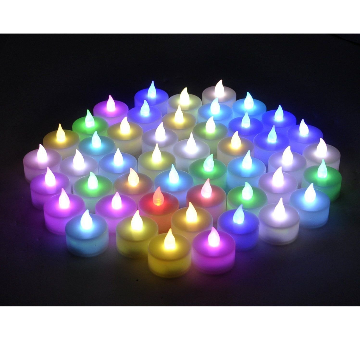 Instapark LCL-C48 Battery-powered Flameless Color-changing LED Tealight Candles, Four Dozen Pack by Instapark