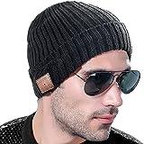 VLOXO Cappello Beanie Bluetooth 4.2, cuffia wireless Bluetooth Berretto lavorato a maglia berretto invernale caldo con microfono incorporato Altoparlanti stereo per sport all'aria aperta, sci, corsa