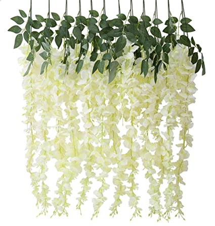 Amazon houda artificial fake wisteria vine ratta silk flowers houda artificial fake wisteria vine ratta silk flowers for garden wedding decor yellowwhite mightylinksfo