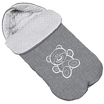 Baby Fußsack Winterfußsack Für Kinderwagen Minky Maße 85 Cm Für Buggy Mit Kaputze Teddybär Flachs 071 Baby