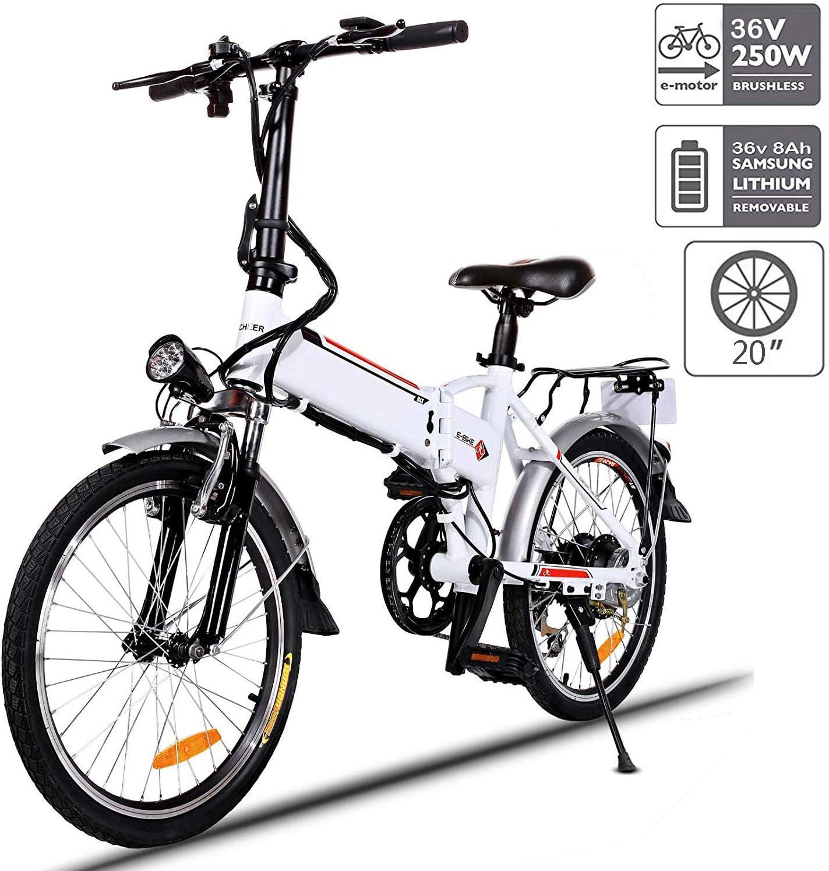 Aceshin 20 Folding Electric Bike Shimano 7 Speed E-Bike, 36V Lithium Battery 250W Motor Electric Bicycle for Adults