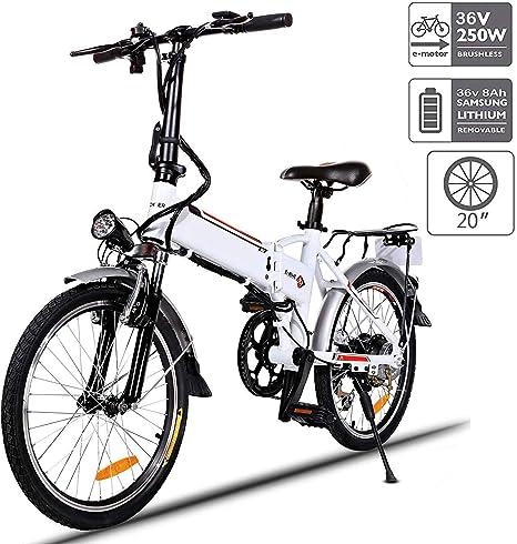 Aceshin Bicicleta eléctrica Plegable de 20 Pulgadas con batería de ...