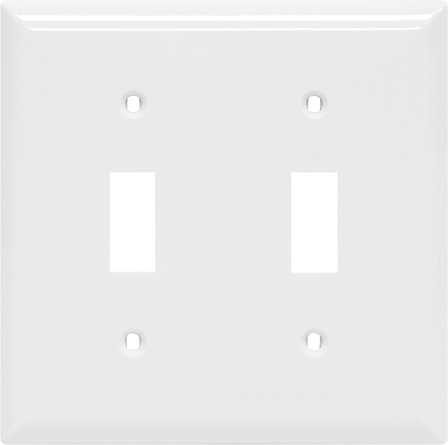 "Power Gear Double Oversized Wall Plate Cover, 2 Gang, Unbreakable Faceplate, x 4.9"", Screws Included, White, 44756 Toggle Switch Wallplate"
