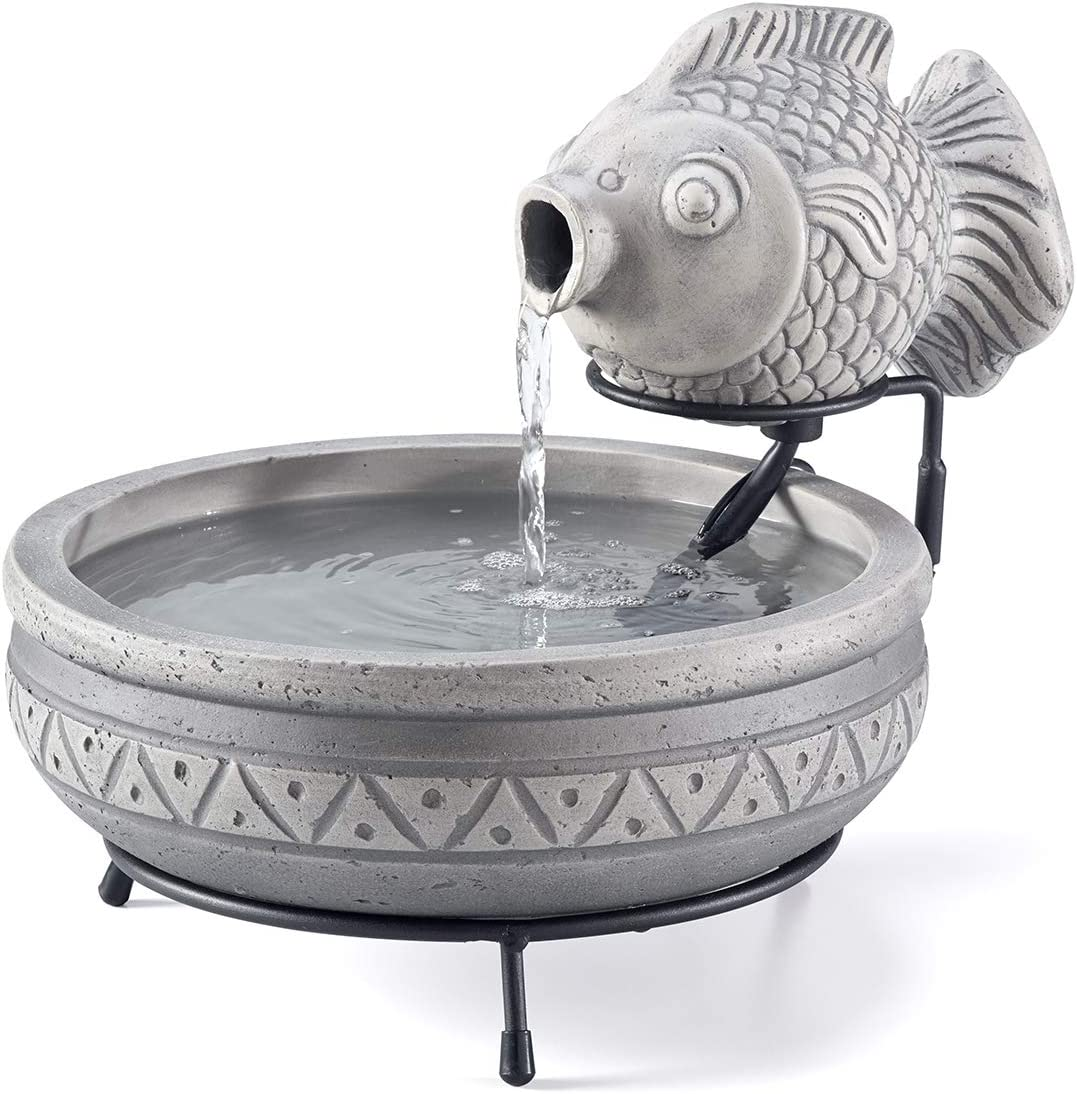 Smart Solar 23471M01 Marin Fountain, Grey Cement