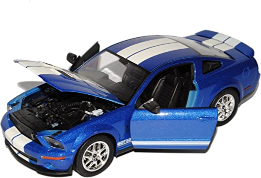 Welly Ford Shelby Mustang V Cobra Gt500 Blau Mit Weiss 2005 2009 1 24 Modell Auto Spielzeug