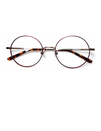 26af55ad9e Komehachi - Large Round Slim Light-Weight Metal Unisex Women Prescription Eyeglasses  Frames Clear Lens