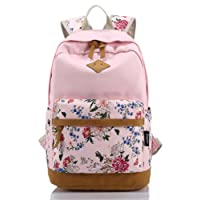 Leaper Cute Floral Canvas Backpack Book School Bag for Girls Laptop Travel Rucksack Daypack Pink