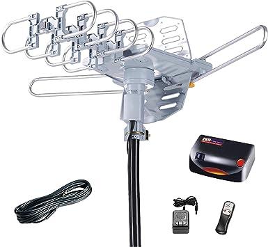 McDuory Antena HDTV Digital amplificada para Exteriores, 150 Millas de Largo Alcance, Control por Infrarrojos de rotación de 360 Grados, instalación ...