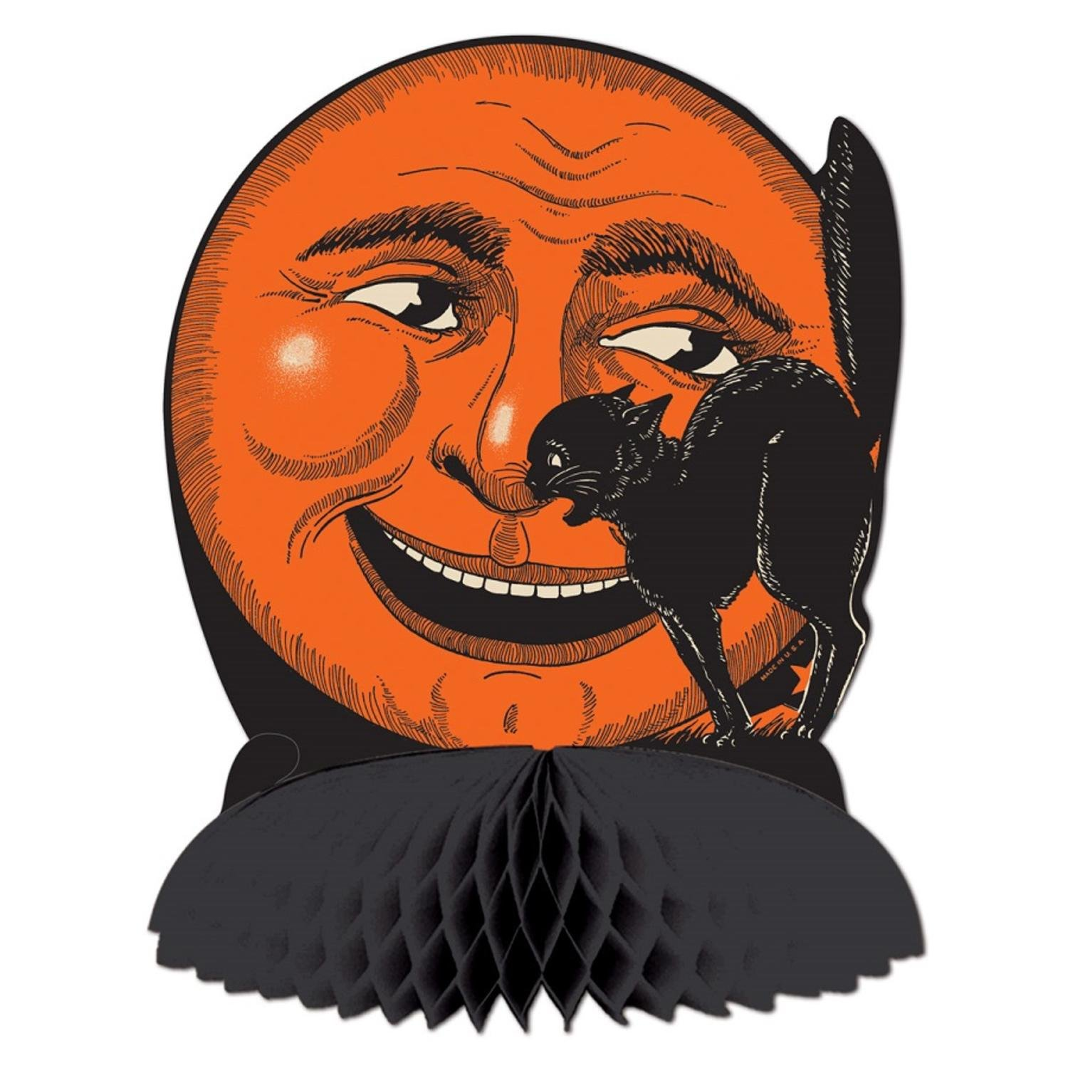 Results 181 240 of 644 for indoor halloween decorations - Amazon Com Club Pack Of 12 Black And Orange Cat Moon Centerpiece Halloween Decorations 9 75 Home Kitchen