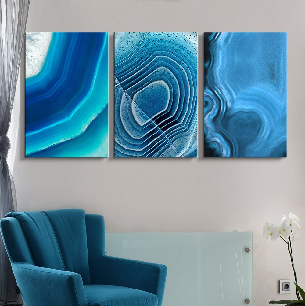 3 Panel Canvas Wall Art - Blue Agate Patterns - Giclee Print Gallery Wrap Modern Home Art Ready to Hang - 16