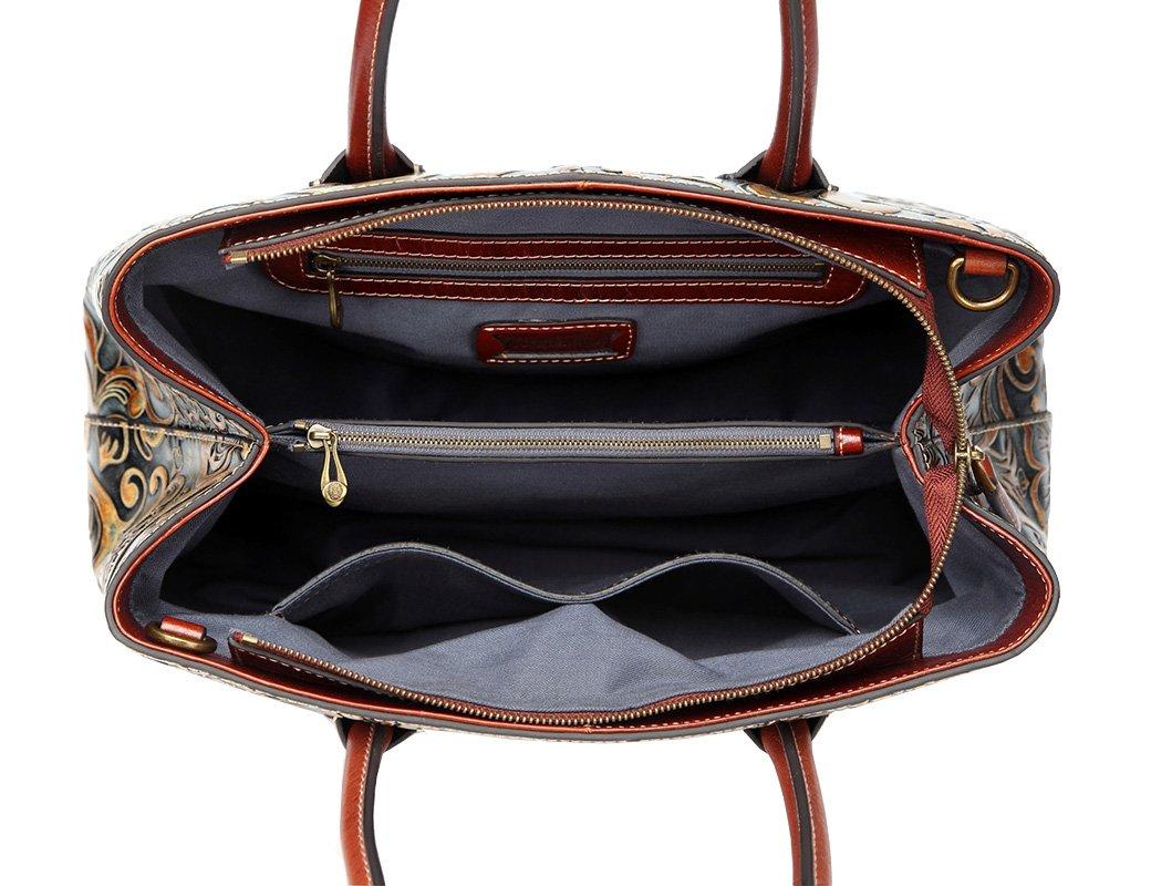 Jair Retro Floral Embossed Genuine Leather Crossbody Tote Bags Handbags for Women (Bronze New) by Jair (Image #6)