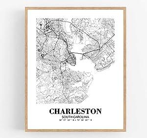 Eleville 8X10 Unframed Charleston South Carolina City View Abstract Road Modern Map Art Print Poster Wall Office Home Decor Minimalist Line Art Hometown Housewarming wgn287