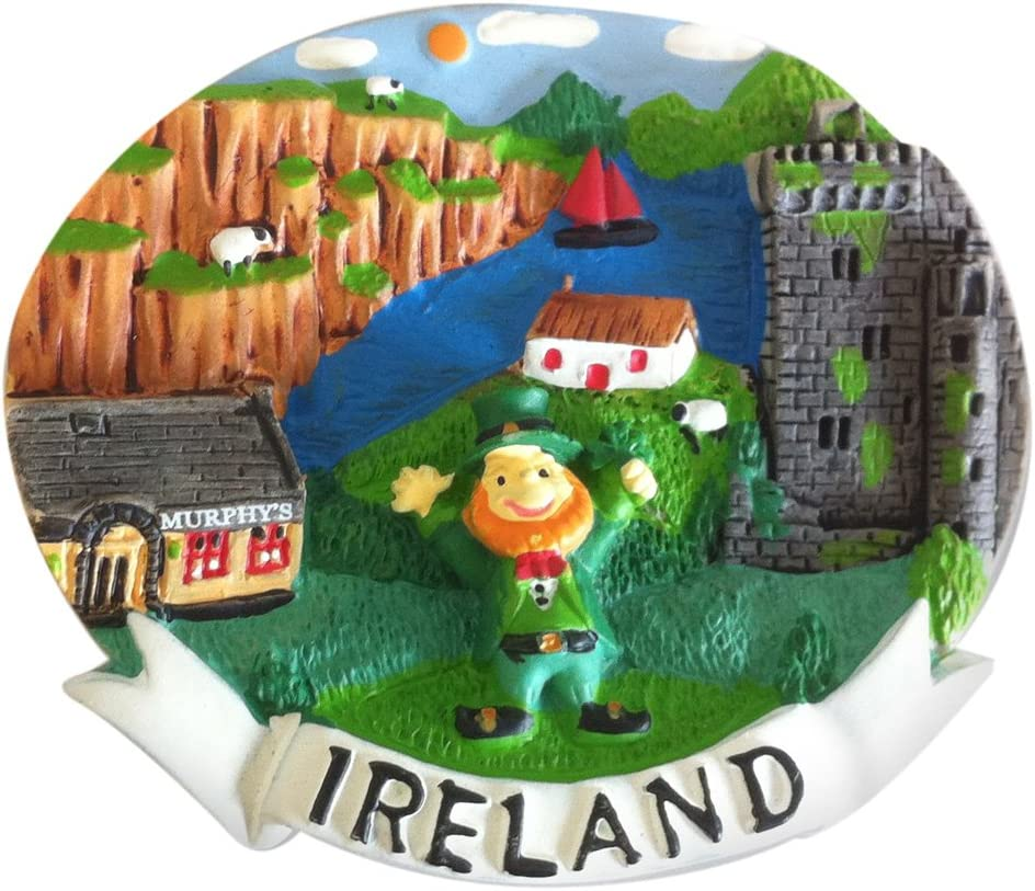 Resin Magnet With Leprechaun & Ireland Montage