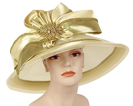 Ms Divine Wide Brim Women s Kentucky Derby Church Hats Dress Formal Hats  H878 (Champagne Gold) at Amazon Women s Clothing store  14580e7671f