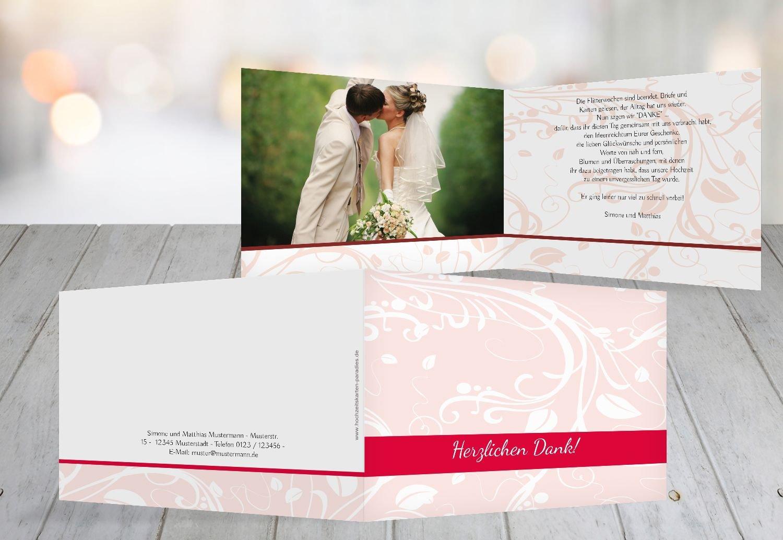 Kartenparadies Danksagung für Hochzeitsgeschenke Hochzeit Dankeskarte Blättertraum, hochwertige Danksagungskarte Hochzeitsglückwünsche inklusive Umschläge   10 Karten - (Format  148x105 mm) Farbe  WeinRot B01N4QK8GE | Genialität