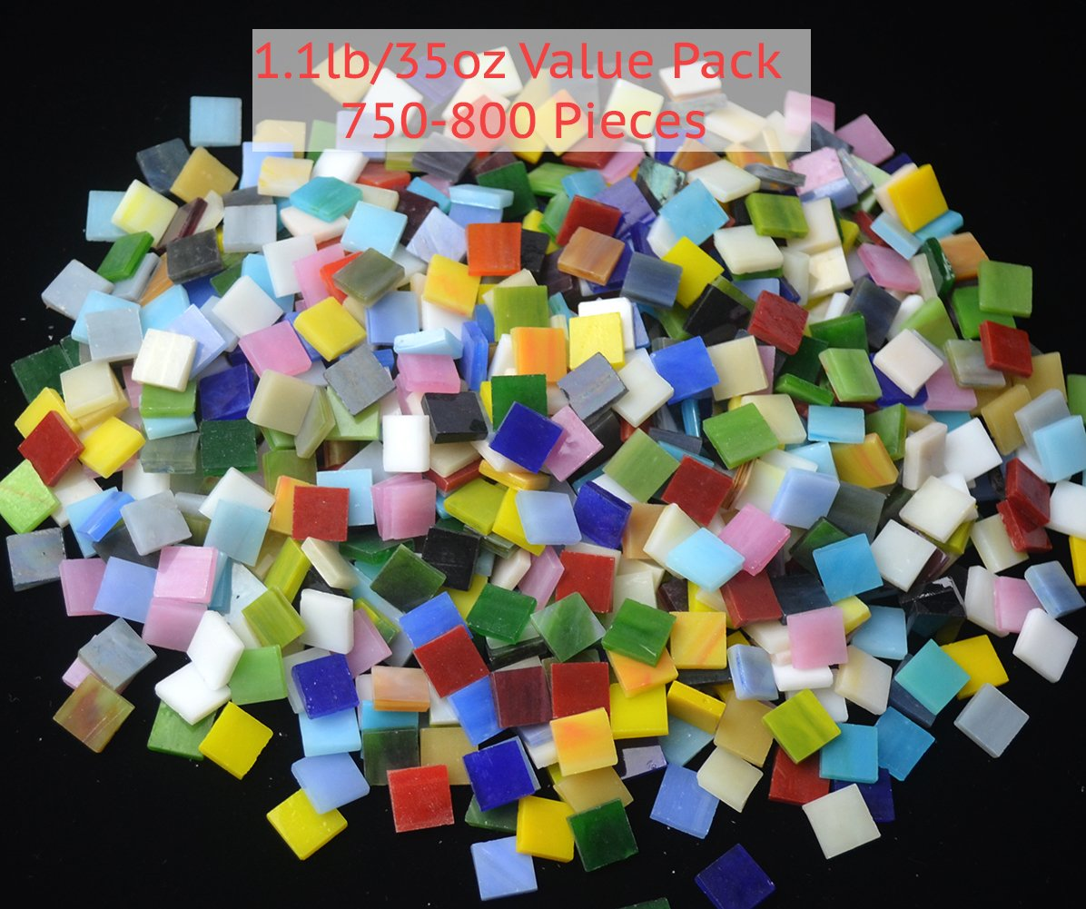 Lanyani 800 Pieces Mosaic Tiles Stained Glass - Assorted Colors for Art Craft and Home Decorations - 500g/1.1lb by Lanyani