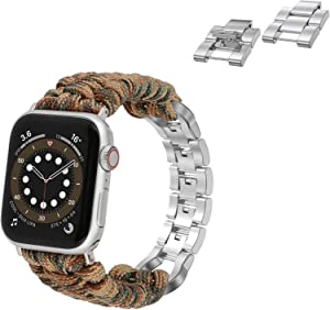 Moolia Paracord Watch Band Compatible with Apple Watch 38mm 40mm for iWatch Series 6 5 4 3 2 1 SE, Men Handcrafted Braided Paracord Sport Replacement Strap, Brown Camo+Links