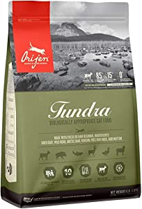 Orijen Tundra Dry Cat Food, Biologically Appropriate, 4 lb. Bag. Made with Boer Goat, Wild Boar, Ranch-Raised Venison, Arctic Char, Free-Run Duck, and Ranch-Raised Mutton
